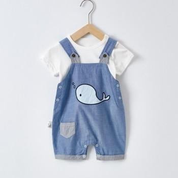 2-piece Cute White Top and Whale Print Overalls for Baby Boy
