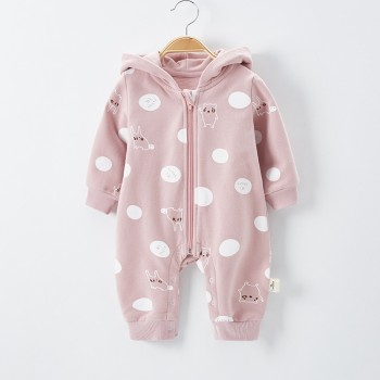 Cute Animal Print Long-sleeve Hooded Jumpsuit for Baby Girl