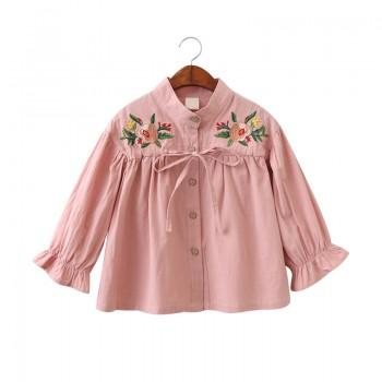 Girl's Sweet Flower embroidered Long Sleeve T-shirt