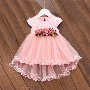 Baby Girl's Sweet 3D Flower Sleeveless Mesh Princess Dress