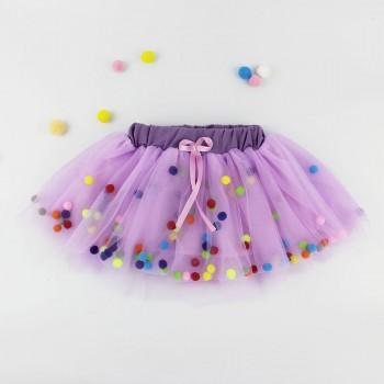 Playful Stylish Tutu Skirt with Pompom for Baby Girl