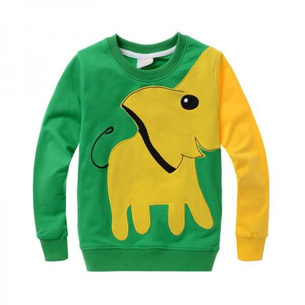 Cute Elephant Applique Long-sleeve Pullover for Boys