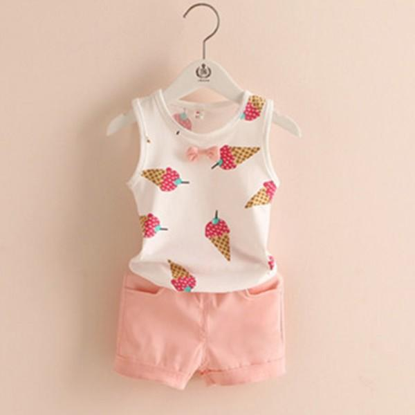 2-piece Lovely Ice Cream Print Tank Top and Shorts for Girls