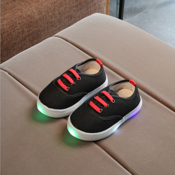Cute Solid Canvas Slip-on LED Shoes for Toddler Boy