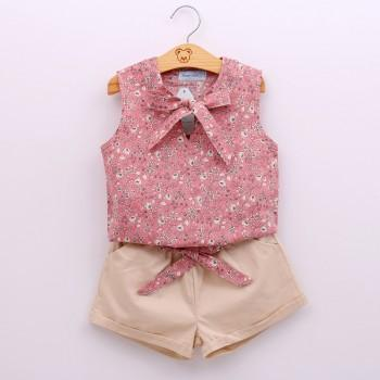 2-piece Pretty Floral Tank Top and Solid Shorts for Girls