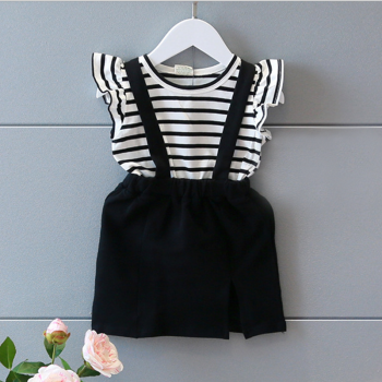 Pretty Striped Ruffle-sleeve T-shirt and Suspender Skirt Set for Toddler Girl