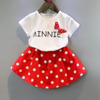 Pretty Bow Decor Short-sleeve T-shirt and Skirt Set for Baby Girl