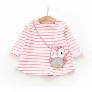 Lovely Sequin Knitted Owl Striped Long-sleeve T-shirt for Girls
