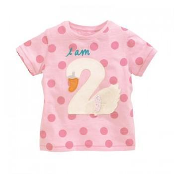 Cute Swan Applique Polka Dot Short Sleeve T-shirt for Baby Girl
