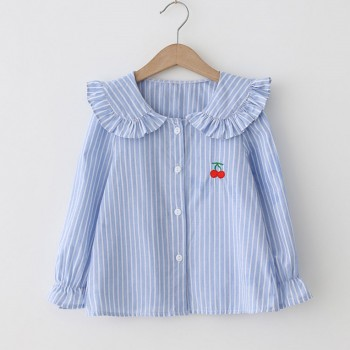 Pretty Strawberry Embroidery Striped Long-sleeve Shirt for 2-4 Years Girl