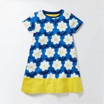Sweet Floral Color Blocking Short-sleeve Dress for Girl