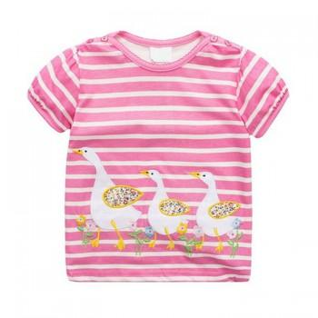 Pretty Duck Applique Striped Short-sleeve T-shirt for Girl