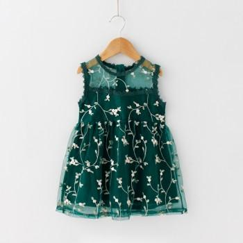 Chic Floral Embroidered Sleeveless Dress for Girls