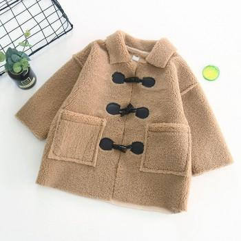 Stylish Solid Long-sleeve Coat for Baby and Kid