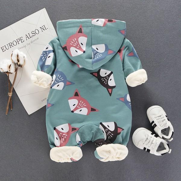 Baby's Adorable Fox Fleece-lined Hooded Jumpsuit