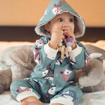 Fashionable Fox Pattern Hooded Jumpsuit for Baby