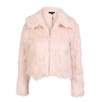 Women Latest Faux-fur Jacket in Beige