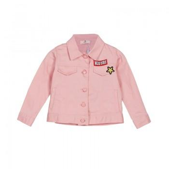 Trendy Solid Star Applique Coat in Pink for Girls