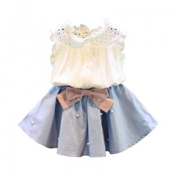 Pretty Solid Flounced Tank Top and Beaded Skirt Set for Girl