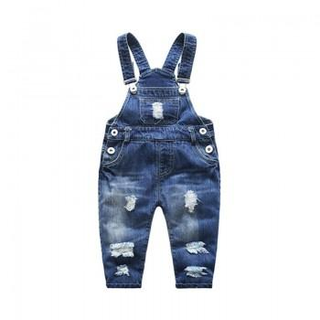 Trendy Ripped Design Denim Overall in Blue for Baby
