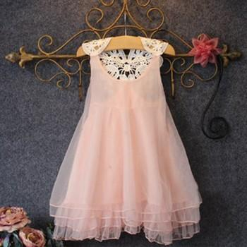 Sweet Pink Sleeveless Lace Dress with Peals for Toddler Girls