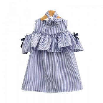 Fresh Striped Flounced Dress with Headband for Girl