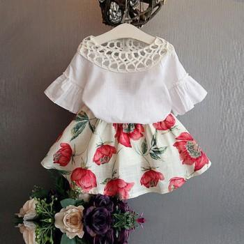 2-piece Floral Decor Flare Sleeves Top and Floral Skirt for Girls