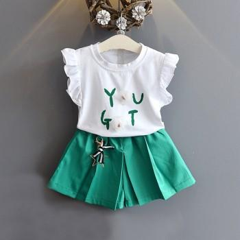 2-piece Lovely Letter Print Ruffle Sleeves Letter Top and Shorts for Toddler Girl