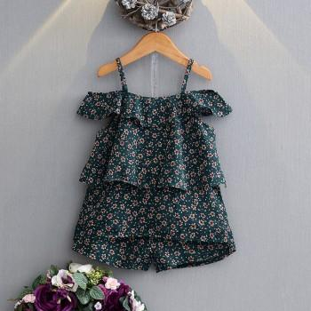 Stylish Cold Shoulder Floral Ruffled T-shirt and Shorts Set for Girl