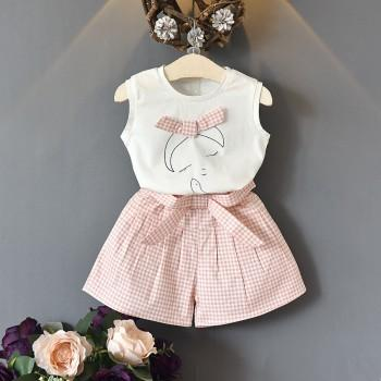Patterned Sleeveless Tee and Plaid Shorts Set for Baby and Toddler Girl