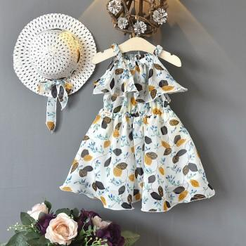 Trendy Flounced Leaf Print Sleeveless Boho Dress and Hat Set for Toddler Girls and Girls