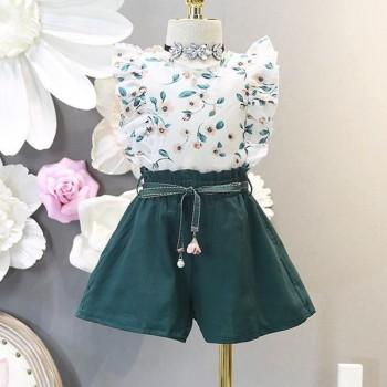 3-piece Trendy Floral Flutter-sleeve Top, Shorts and Belt Set for 2-3 Years Girl