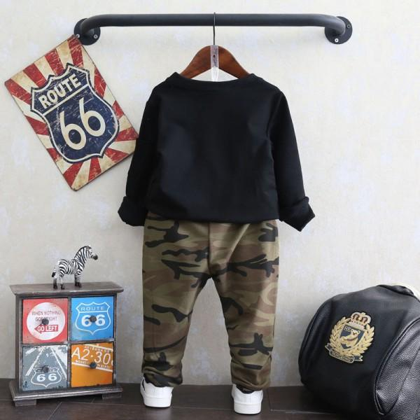 2-piece Cool Pullover and Camouflage Pants Set for Toddler Boys
