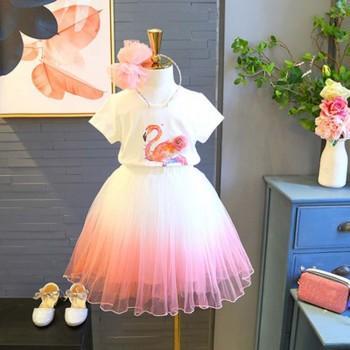 Pretty Flamingo Print Tee and Tulle Skirt Set for Toddler Girl and Girl