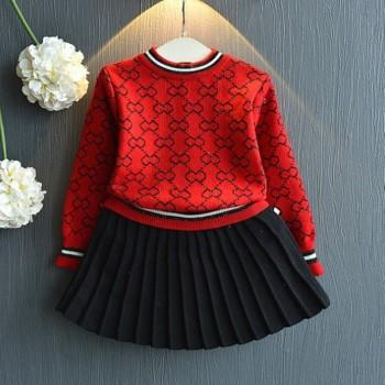 Fashionable Patterned Knitted Sweater and Pleated Skirt Set for Toddler Girl and Girl