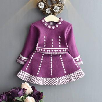Elegant Rhombus Pattern Long-sleeve Knitted Dress for Baby and Toddler Girl