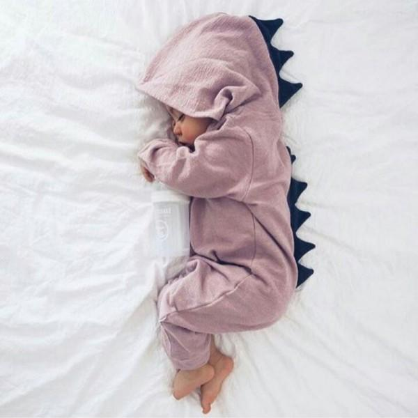 Lovely Dino Hooded Long-sleeve One Piece for Baby