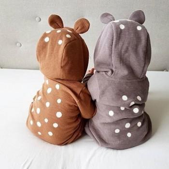 Super Cute Bear Hooded Polka Dots Jumpsuit