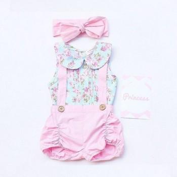 Pretty Floral Doll Collar Tank Top and Suspender Shorts with Headband for Baby Girl