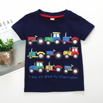 Lovely Tractors Print Short-sleeve Tee for Baby and Toddler Boys