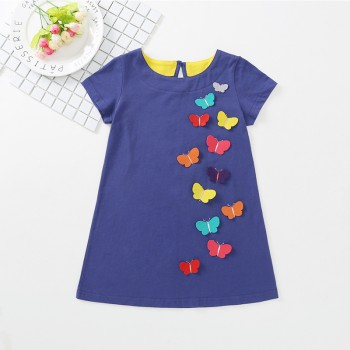 Pretty Butterfly Applique Short-sleeve Dress for Toddler Girls and Girls