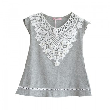 Trendy Lace Flower Hollow out Cap-sleeve Tee for Toddler Girl and Girl
