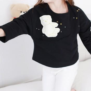 Cute Bear Appliqued Long-sleeve Top in Black for Toddler Girl and Girl