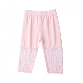 Adorable Lace Solid Leggings in Pink for Toddler Girl and Girl