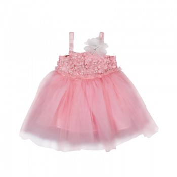Adorable Pearl Flower Decor High Waist Tulle Dress for Toddler Girl