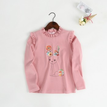 Cute Rabbit Print Ruffled Long-sleeve Tee for Toddler Girl and Girl