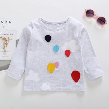 Cute Balloon Embroider Long-sleeve T-shirt for Baby and Toddler Girl