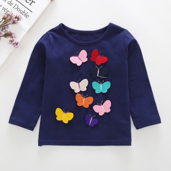 Fun Butterfly Embroider Long-sleeve Tee for Baby and Toddler Girl
