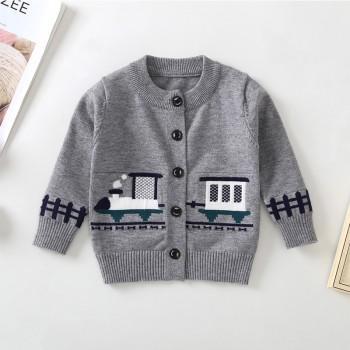Trendy Train Design Long-sleeve Cardigan for Toddler Boy