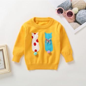 Cute Dotted Cat Design Long-sleeve Sweater for Baby Girl